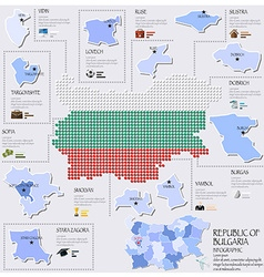 Dot And Flag Map Of Republic Of Bulgaria vector