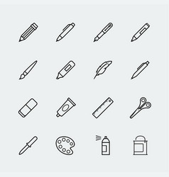 drawing and writing tools icon set in thin line vector image