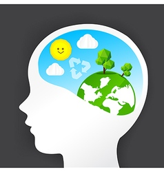 Eco thinking head icon and nature ecology concept vector