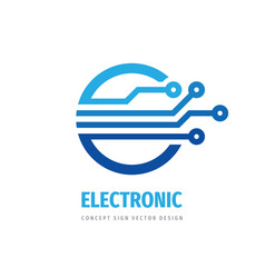 electronic technology logo design computer vector image
