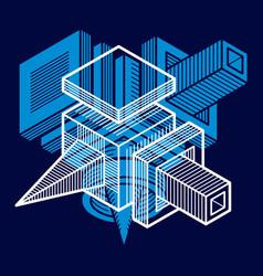 Engineering abstract shape 3d polygonal figure vector