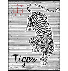 Engraved of zodiac symbol with tiger vector