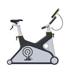 Exercise bike bicycle with monitor handles vector