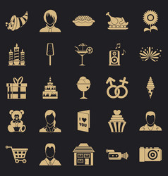 family dinner icons set simple style vector image