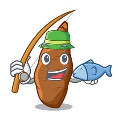 Fishing ripe cassava on the cartoon table vector