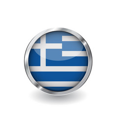 flag of greece button with metal frame and shadow vector image
