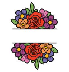 Floral frame or border bouquet flowers vector