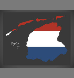 Fryslan netherlands map with dutch national flag vector