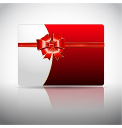 Gift card with ribbon and bow vector