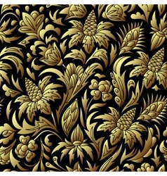 Gold seamless pattern floral texture vector