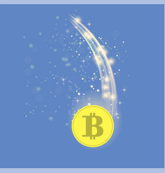 Golden bitcoin is falling crypto currency icon vector