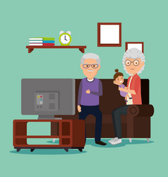 grandparents couple with baby in the living room vector image