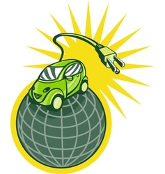 Green electric car on top of world with plug vector