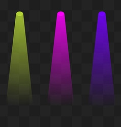 Green magenta and blue lighting with spotlights vector