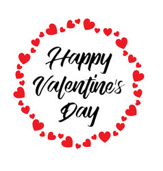 hand written happy valentines day with heart vector image