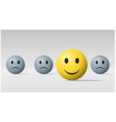 Happy face ball among sad face balls background vector