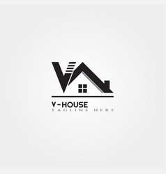 House icon template with v letter home creative vector