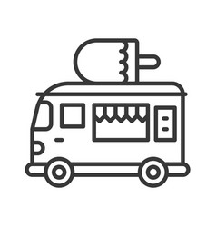 ice cream truck food truck line style editable vector image