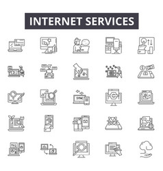 Internet services line icons signs set vector