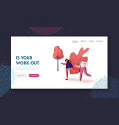 Jogging sport lifestyle landing page template vector