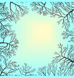 Landscape with sky and tree branches vector