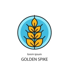 Line style logo with wheat golden spike vector