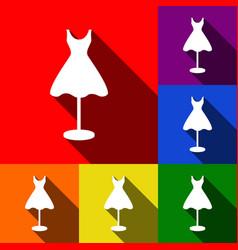 Mannequin with dress sign set of icons vector