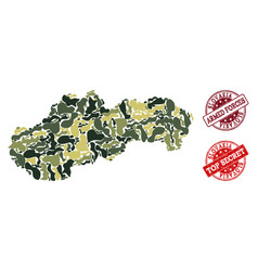 Military camouflage collage of map of slovakia and vector