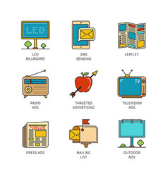 Minimal lineart flat promotion iconset vector