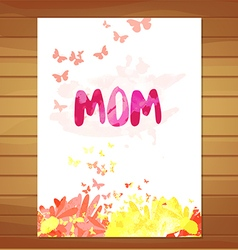 Mothers day card Watercolor floral background vector image