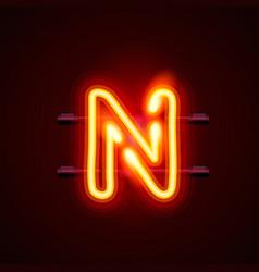 Neon font letter n art design singboard vector