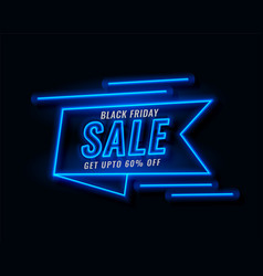 neon ribbon banner black friday sale vector image