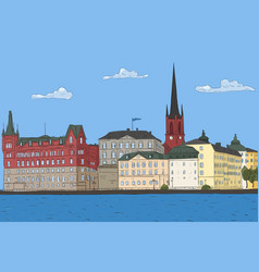 Old city landscape stockholm vector