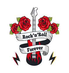 Rock-n-roll forever guitar vector