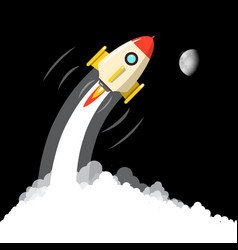 rocket launch with moon on night sky business vector image
