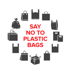 Say no to plastic bags circle template with flat vector