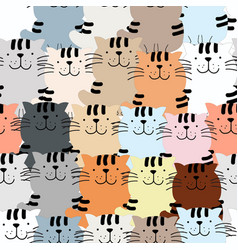 Seamless pattern cute cat kitty kitten cartoon vector