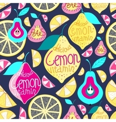 Seamless pattern lemons pears vector