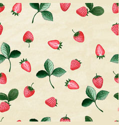 set hand drawn strawberries on old paper vector image