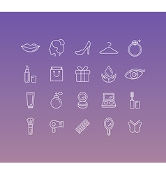 set of 20 icons and sign in mono line style vector image