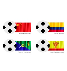 Soccer Ball of China Colombia Christmas Island vector
