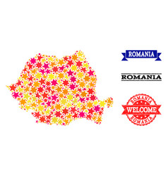 Star mosaic map of romania and rubber watermarks vector