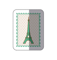 sticker frame with silhouette eiffel tower vector image