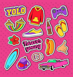 teenage fashion stickers badges and patches vector image