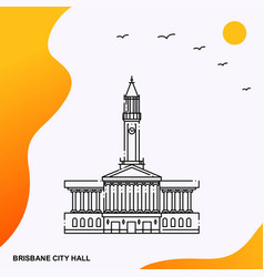 Travel brisbane city hall poster template vector