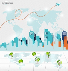 Tree shaped world map with building background vector