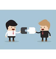 Two businessman connect puzzle pieces vector image