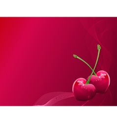 valentine heart-shaped cherries vector image