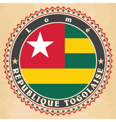 Vintage label cards of Togo flag vector