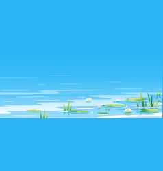 Water surface with water lilies vector